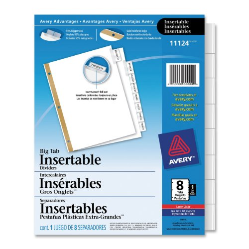 Avery WorkSaver Big Tab Insertable Dividers, 8-Tabs, 1 Set (11124)
