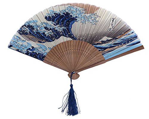 Leegoal Dark Blue and White Wave Pattern Lace Bamboo Handheld Folding Fans for Girls Women