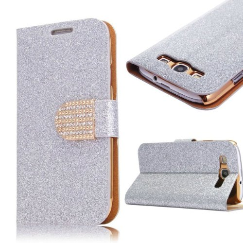 WeCC Hot Silver Color Bling Wallet Luxury Leather Magnetic Flip Cover Case for Samsung GALAXY S3 S III i9300 and one gifts