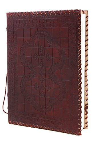 Mothers Day Gifts Leather Bound Journal Diary Blank Notebook Hand Embossed with Unlined Eco-friendly 72 Sheets 144 Pages (10 x 7)