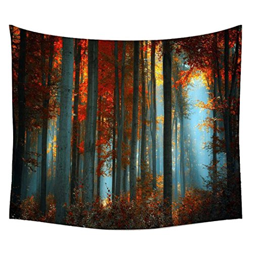Snoogg Abstract Red Forest Wall Hanging Indian Mandala Tapestry Decorative Dorm Tapestry Wall Hanging Beach Picnic Sheet Hippie Tapestry Wall Tapestries , Bohemian Tapestries