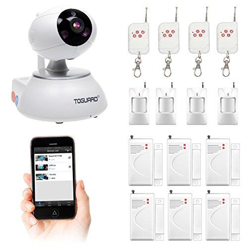 Toguard All In One WIFI Smart HD IP Camera Wireless Home Security Surveillance Alarm System DIY KIT with Door Sensor*6 + PIR Body Sensor*4 + Remote Control*4