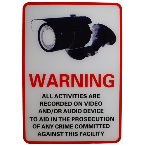 CCTV warning sign hard plastic 8.3X10.5 inch (CANADA SELLER)
