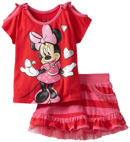 Disney Little Girls' Minnie 2 Piece Knit Pullover And Knit Divided Skirt, Red, 2T