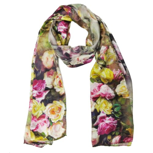 Wrapables Luxurious 100% Charmeuse Silk Floral Painting Long Scarf with Hand Rolled Edges, Rose Garden