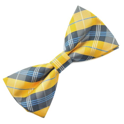 PenSee Mens Silk Bow Tie Gold & Multi-color Plaids Checker Bow Ties