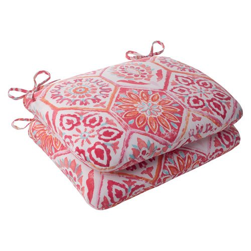 Pillow Perfect Indoor/Outdoor Summer Breeze Rounded Seat Cushion, Flame, Set of 2