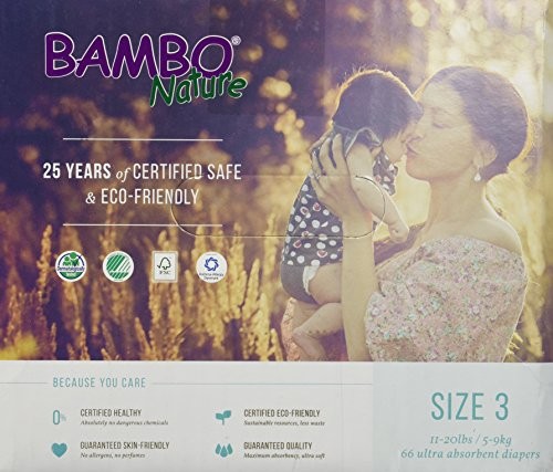 Bambo Nature Premium Baby Diapers, Midi, Size 3, 66 Count
