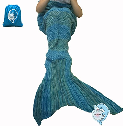 LAGHCAT Mermaid Tail Blanket Knit Crochet and Mermaid Blanket for Kids,Sleeping Bag (56X28, Gradual Green)