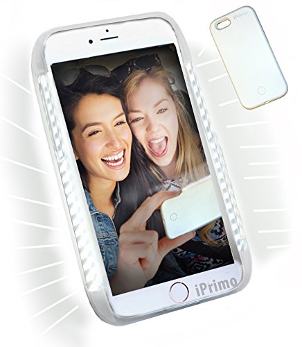 Iphone 6 PLUS and 6S PLUS by iPrimio ®. *NEW* LED Lighted Selfie Phone Case - Great for a Selfie and Facetime, Dimmable.