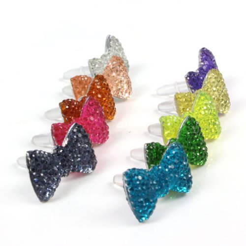 10 X 3.5mm Crystal Bow Phone Headset Dust Plug for Apple Iphone