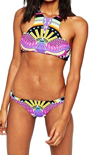 G-WELL Women's Sexy 2PCS High Neck Halter Tropical Bikini Set Bathing Suit XL Color C
