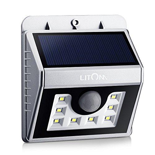 Litom Super Bright 8 LED Solar Powered Wireless Motion Sensor Light with Three Intelligent Modes,Weatherproof,Wireless Exterior Lighting