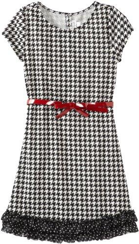 Sweet Heart Rose Big Girls' Short Sleeve Houndtooth Dress with Belt