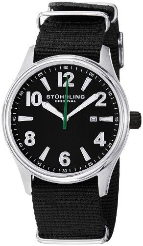 Stuhrling Original Men's Nighthawk Swiss Quartz Date Black Canvas Strap Watch 406A.331OB13