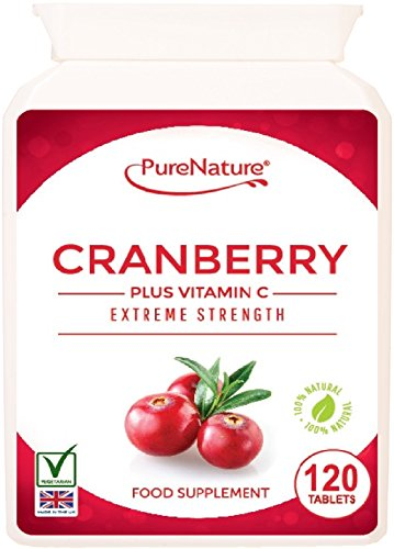 Cranberry 12000mg + Added Vitamin C, UK's STRONGEST STRENGTH & PERFORMANCE, More than Double Strength of Competitors, 120 Easy to Swallow Tablets to Support the Maintenance of a Healthy Urinary Tract & Immune System - Suitable for Vegetarians |100% Quality Assured Money Back Guarantee| FREE UK DELIVERY