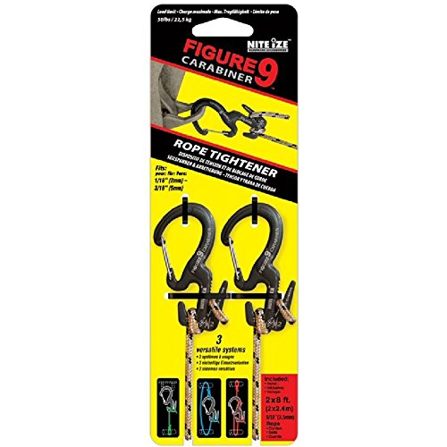Nite Ize Figure 9 C9L0301 Small Carabiner Clip with Rope C9S03TP01