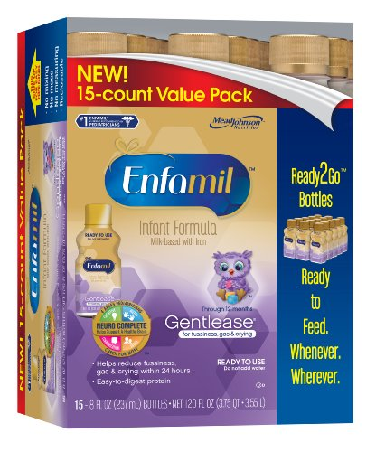 Enfamil Gentlease Infant Formula for Fussiness, 8 Ounce, 15 Count (Packaging May Vary)