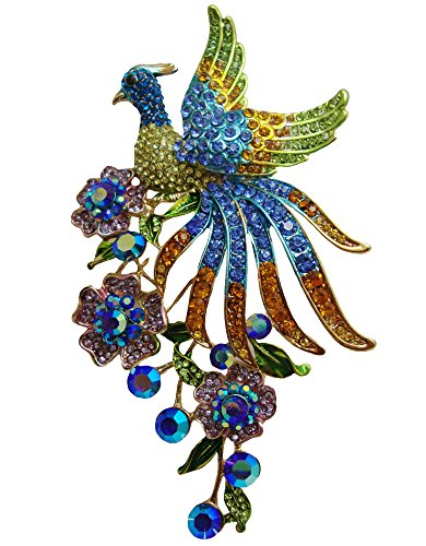 TTjewelry Fashion Colorful Peacock Brooch Pin with Flower Austrian Crystal Pendant B10646803