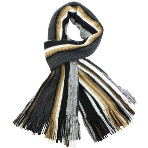 Dahlia Men's 100% Fine Acrylic Colorful Striped Knit Long Scarf