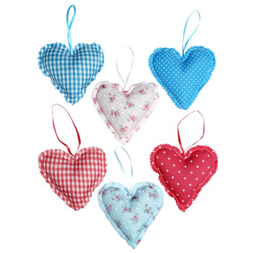 Set of Twelve Pretty Hanging Quilted Heart Decorations