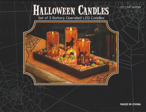 Halloween Led Candles Set of 3 (Orange)