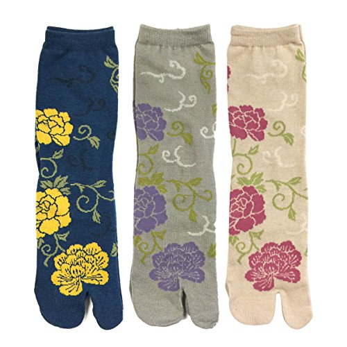 Wrapables Tabi Flip-Flop Socks (Set of 3), Rose & Peony, Dark Blue, Gray, Beige