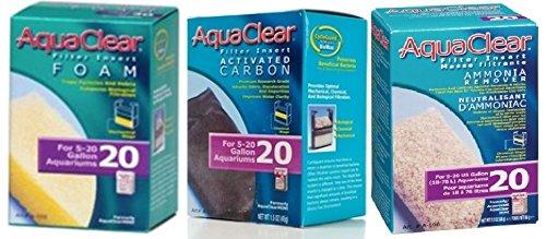 Aquaclear 20 Replacement Media Bundle: Sponge, Carbon, Ammonia Remover