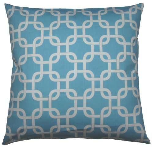 JinStyles® Cotton Canvas Trellis Chain Accent Decorative Throw Pillow Cover (Carolina Blue & White, Square, 1 Cushion Sham for 16 x 16 Inserts)