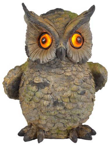 Moonrays 91257 Solar Powered Hand Painted Polynesian Owl with LED Blinking Eyes