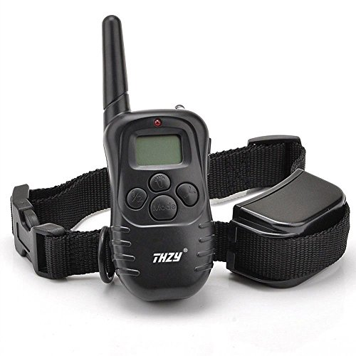 Dog Training Collar - THZY Rechargeable LCD Remote Shock Control Pet Dog Training Collar with 100 Level of Vibration + 100 Level of Static Shock+ 1 Level Tone For Small Dog (Black)