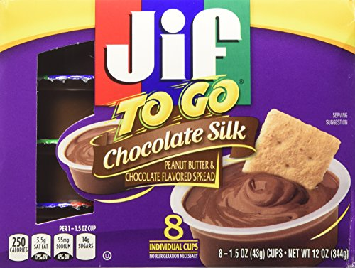 Jif to Go Chocolate Silk Peanut Butter & Chocolate Flavored Spread 8-1.5 Oz. Cups (Pack of 3)