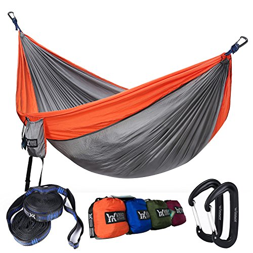 Winner Outfitters Double Camping Hammock With Tree Straps - Lightweight Nylon Portable Hammock, Best Parachute Double Hammock For Backpacking, Camping, Travel, Beach, Yard. 118(L) x 78(W)