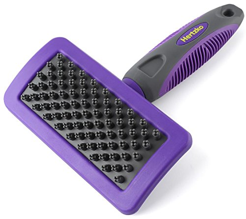 Pet Bath & Massage Brush by Hertzko - Great Grooming Tool for Shampooing and Massaging Dogs and Cats with Short or Long Hair - Soft Rubber Bristles Gently Removes Loose & Shed Fur from your Pet's Coat