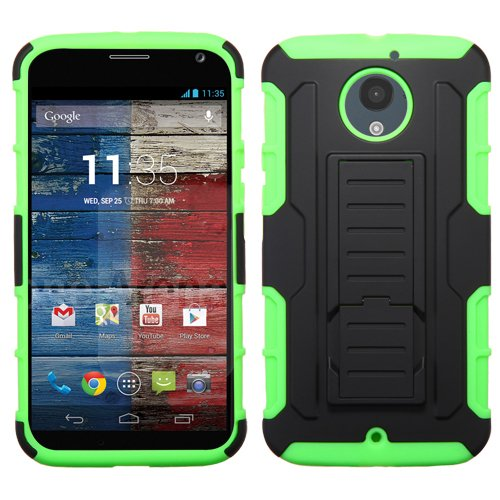 Cell Accessories For Less (TM) MOTOROLA MOTO X+1 Black/Electric Green Car Armor Stand Protector Cover (Rubberized) + Bundle (Stylus & Micro Cleaning Cloth) - By TheTargetBuys