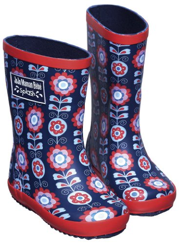 JoJo Maman Bebe Baby Girls' Patterned Wellies Floral (Toddler) - Navy - 3 Infant