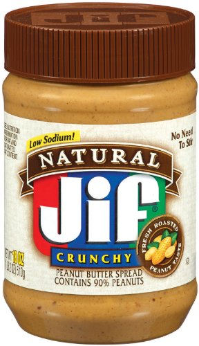Jif Natural Crunchy Peanut Butter Spread, 18-Ounce (Pack of 6)