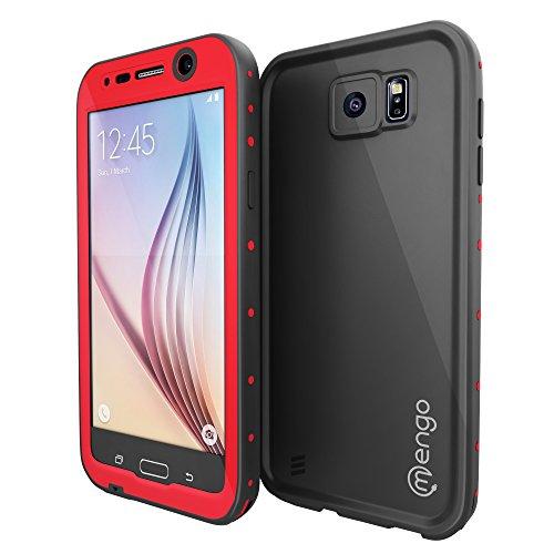 Mengo Aqua Armor Galaxy S6 Waterproof Case [Ultra Slim & Light Weight] Shockproof, Dustproof & Dropproof - Red