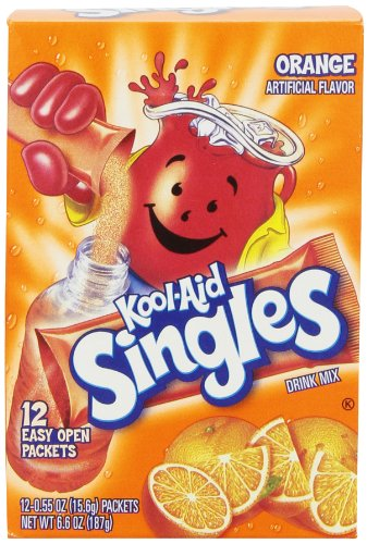Kool-Aid Singles Soft Drink Mix, Orange, 6.6-Ounce Boxes (Pack of 4)