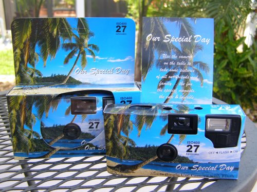 10 Pack Tropical/Beach Disposable Wedding Cameras in Matching Gift Boxes with Table Tents, 35mm, 27 Exposures