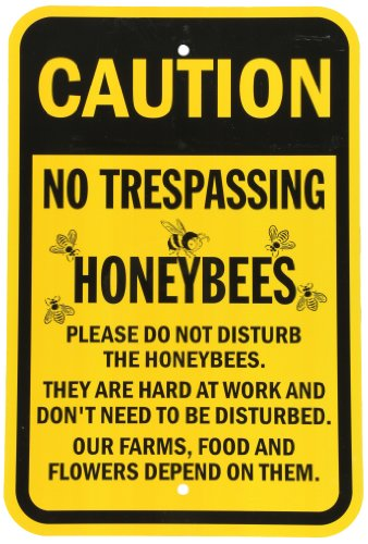 SmartSign Aluminum Sign, Legend No Trespassing Honeybees with Graphic, 18 high x 12 wide, Black on Yellow