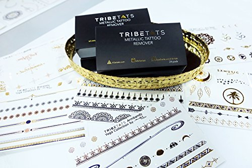 TribeTats Alcohol-Free Temporary Tattoo Remover Pads   24 Individually Packed Removal Pads   Works For All Metallic and Flash Tattoos In One Easy Step