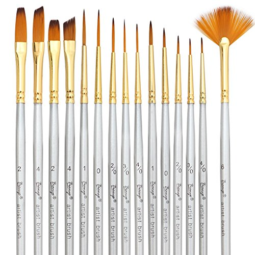 Bianyo Detail Paint Brush Set - 15 Piece Miniature Brushes for Models, Airplane Kits Detail Art Painting Suitable for Acrylic, Watercolor, Oil