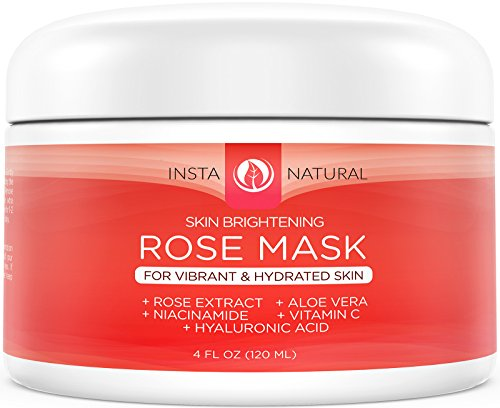 InstaNatural Rose Facial Mask  - Best Natural Skin Brightening, Skin Clearing, Moisturizing  & Pore Reducing Remedy for Face - Good for Dry & Oily Skin, Acne, Blemishes, & Blackheads -  120 ml / 4 OZ