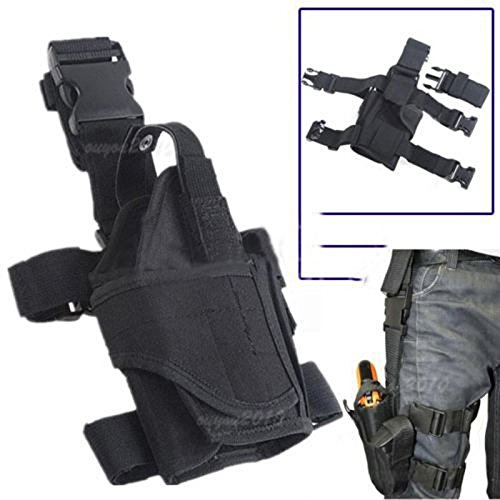 NIANPU Adjustable Tactical Army Pistol Gun Thigh Holster Pouch Holder For Right drop Leg (BLACK)