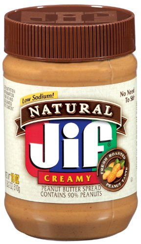 Jif Natural Creamy Peanut Butter Spread, 18-Ounce (Pack of 6)