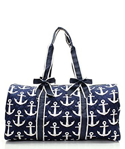 Quilted Navy Nautical Anchor Monogram Ready 20 Overnight Duffle Bag