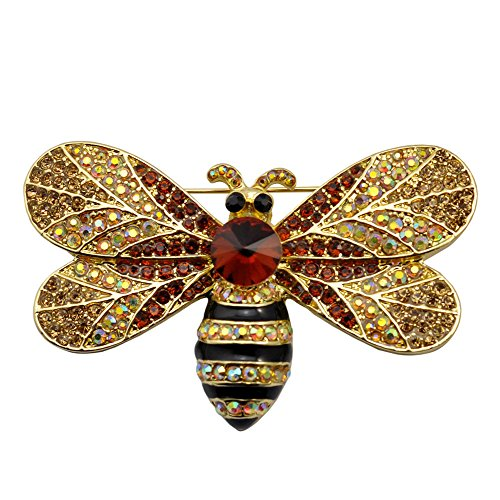TTjewelry Vintage Brown Bee Insect Gold-Tone Brooch Pin Rhinestone Crystal Woman