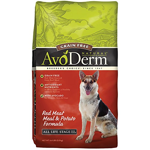 AvoDerm Natural Grain Free Red Meat Meal and Potato Formula Dog Food, 4.4-Pound, 1 Pack