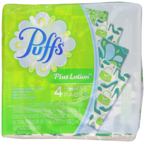 Puffs Plus Lotion Facial Tissues, 4 To-Go Packs, 10 Tissues Per Pack